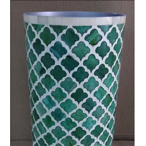 Luiza Bone Inlay Vase Mughal Pattern Coloured Green Bone - Notbrand