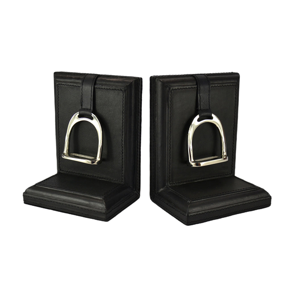 Set of 2 Black Leather Bookends with Stirrup - Small - Notbrand