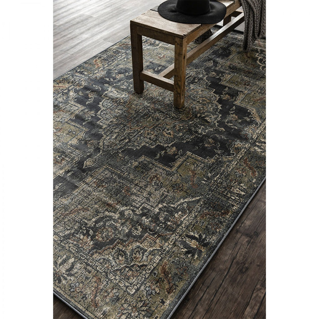 Cavalli Power Loomed Distress Rug - Black