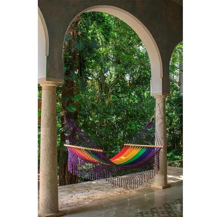 Resort Mexican Hammock with Fringe in Rainbow - Notbrand