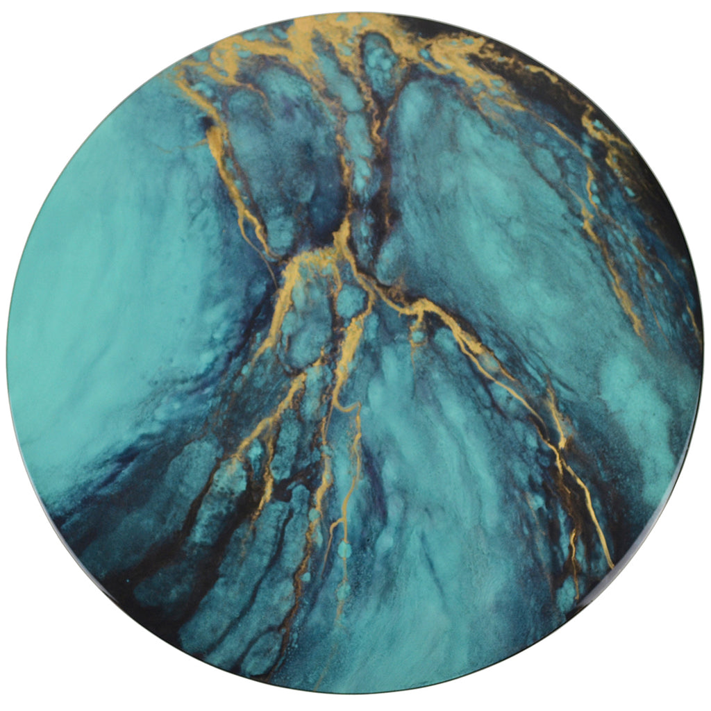 Blue Elements Hand-Painted Round Lacquer Wall Art - Notbrand