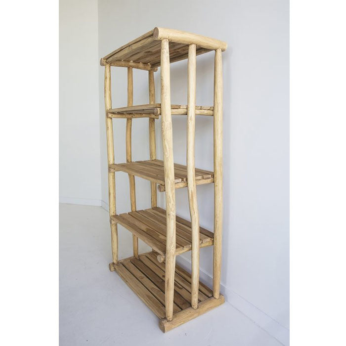 Paisley Teak Wood Five Tier Shelving Storage - Notbrand