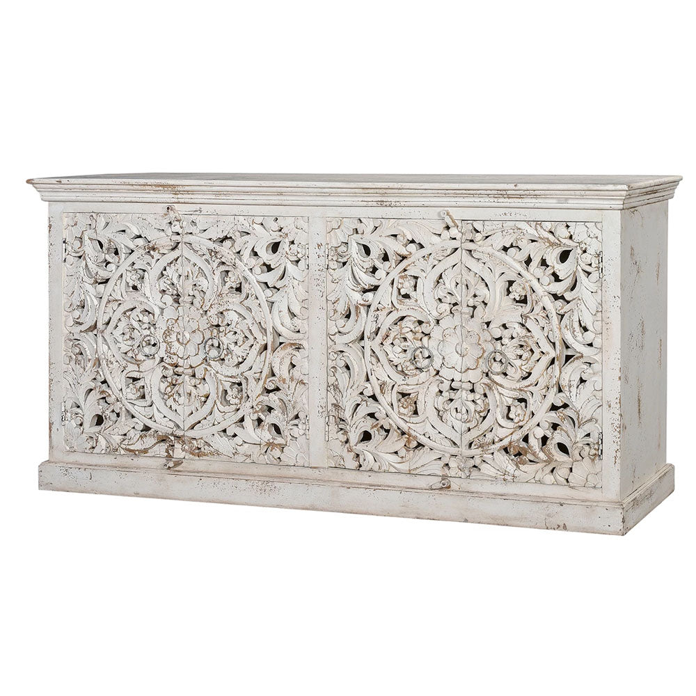 Hakam 4 Door Ornate Carved  Sideboard - Notbrand