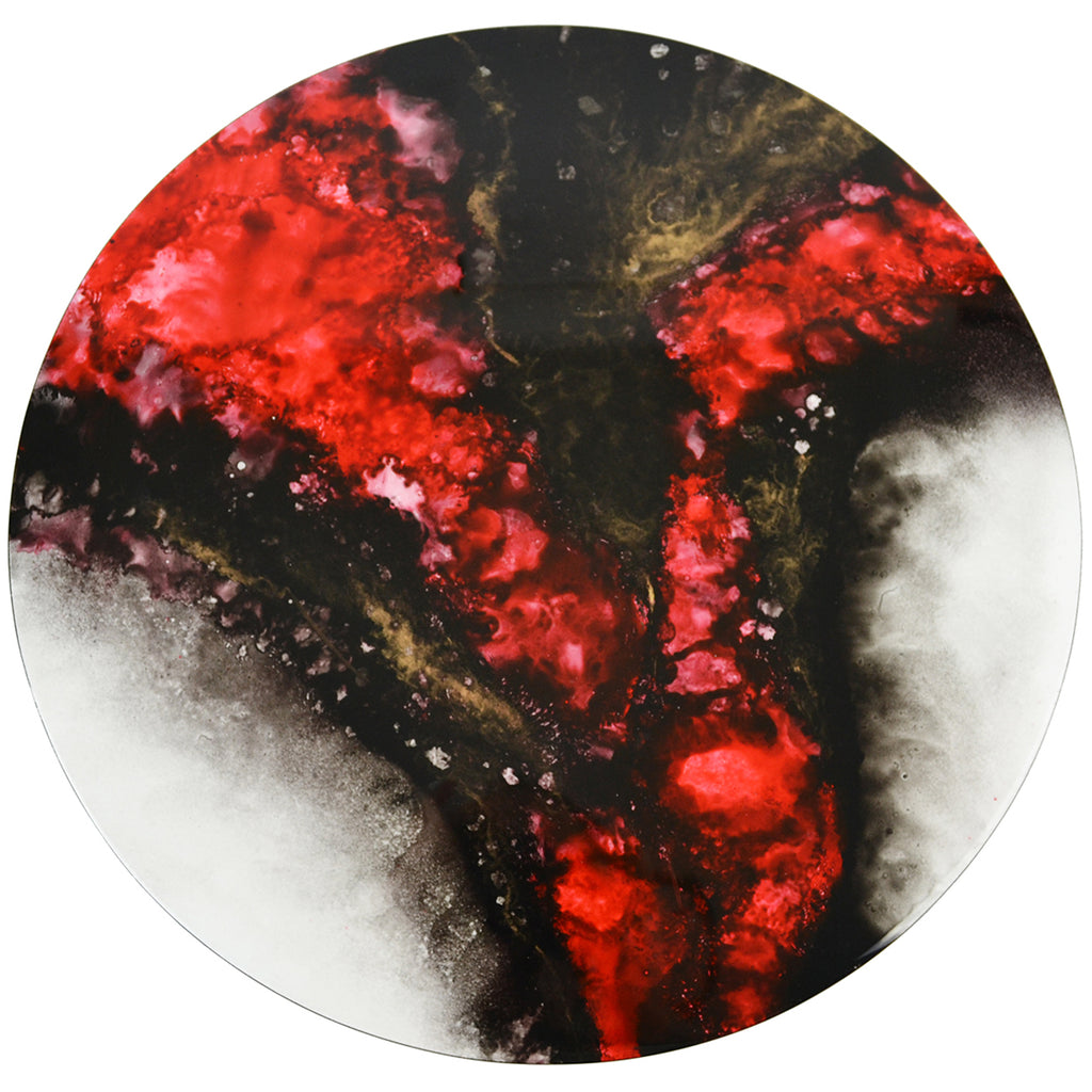 Red Elements Hand-Painted Round Lacquer Wall Art - Notbrand