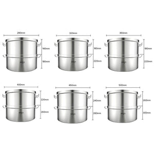 2 Tier 304 Stainless Steel Steamer - 50*30cm - Notbrand