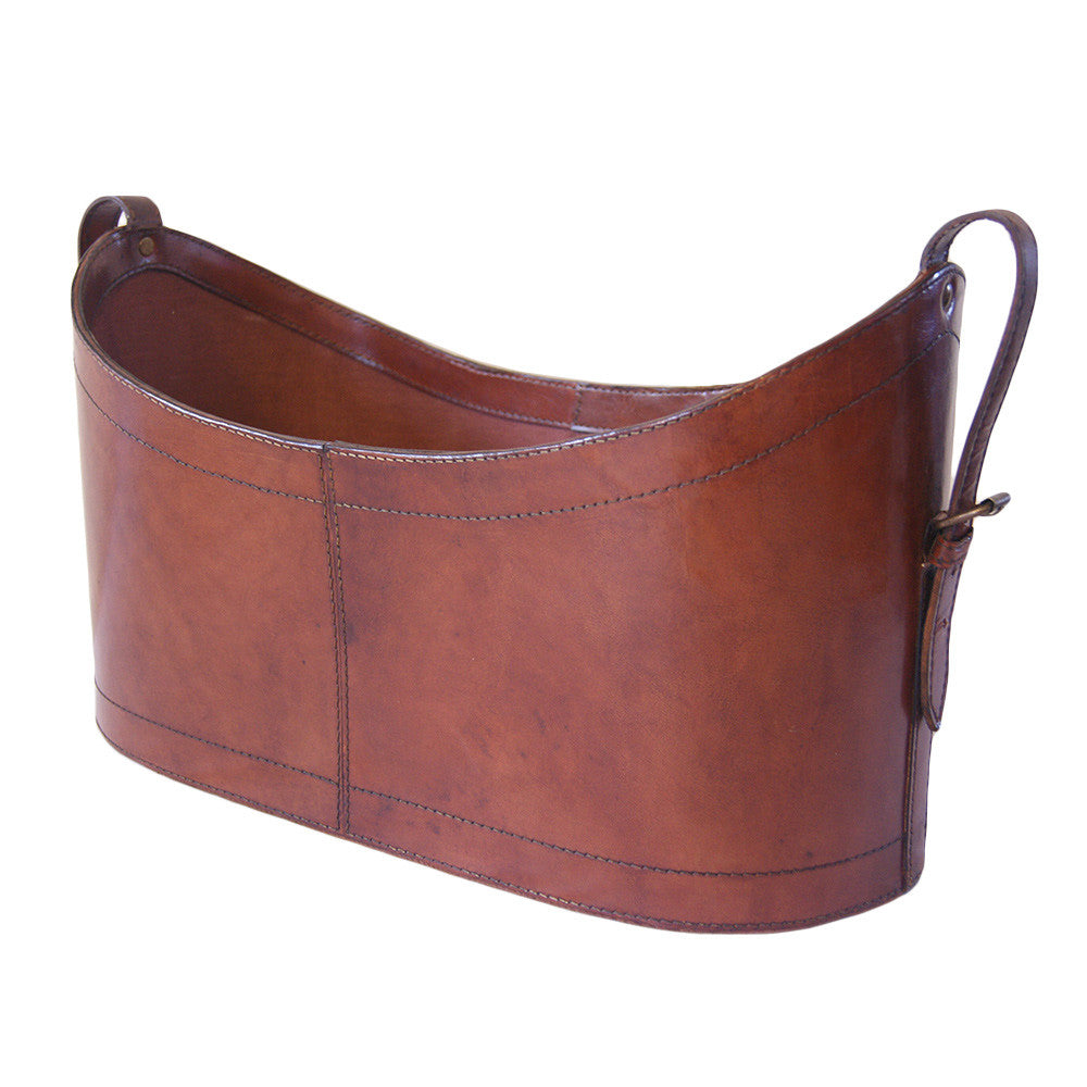 Boat Neck Scoop Tan Leather Magazine Basket - Notbrand