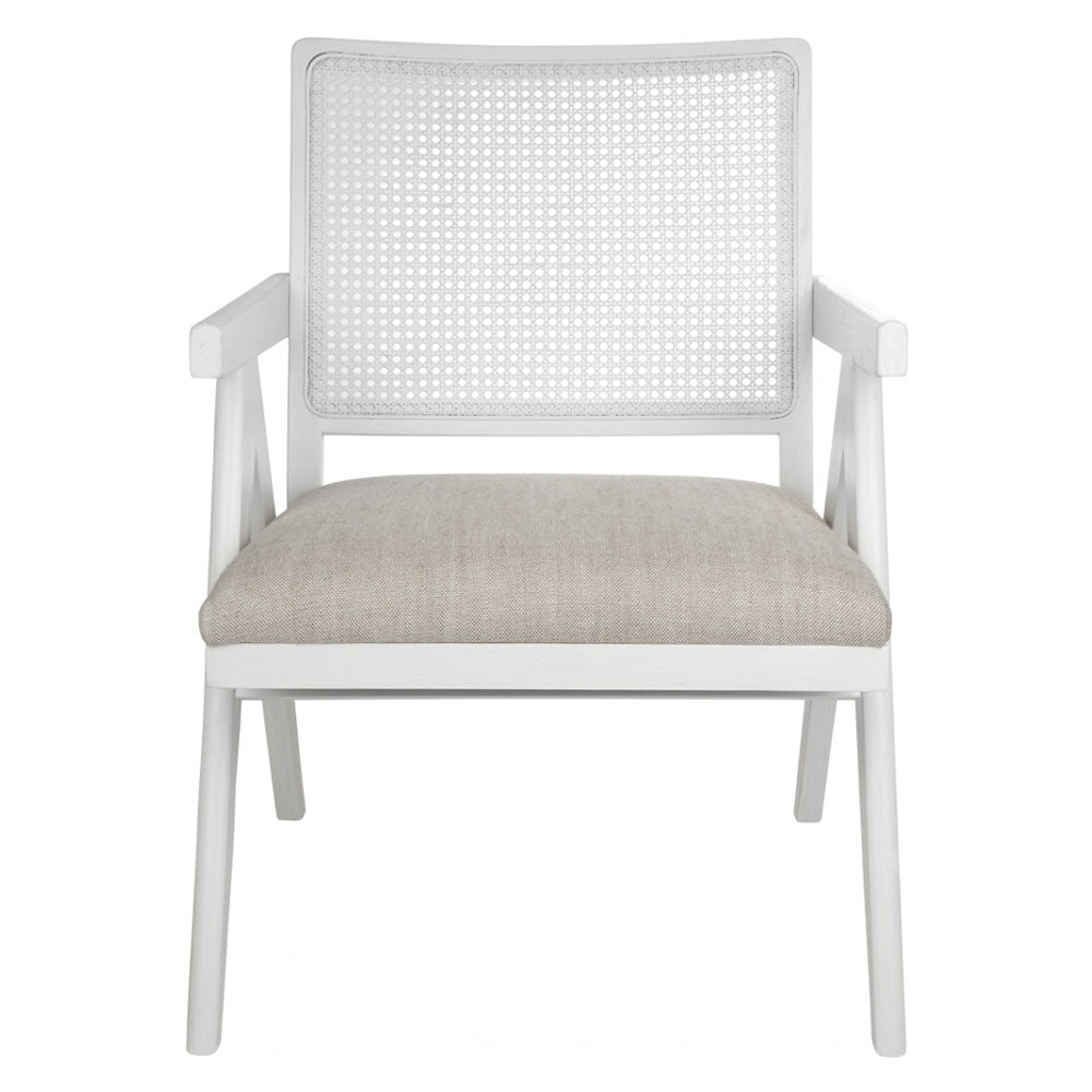 The Imperial Arm Chair - White Frame w Natural Linen - Notbrand