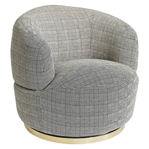 Tubby Swivel Arm Chair - Black Plaid - Notbrand