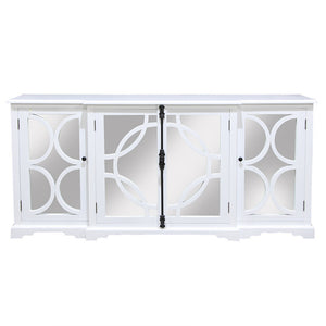 Keats Arc Mirror 4 Door Sideboard Cabinet White - Notbrand