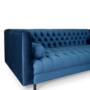 Fumit 3 Seater Chesterfield Sofa - Navy Blue - Notbrand