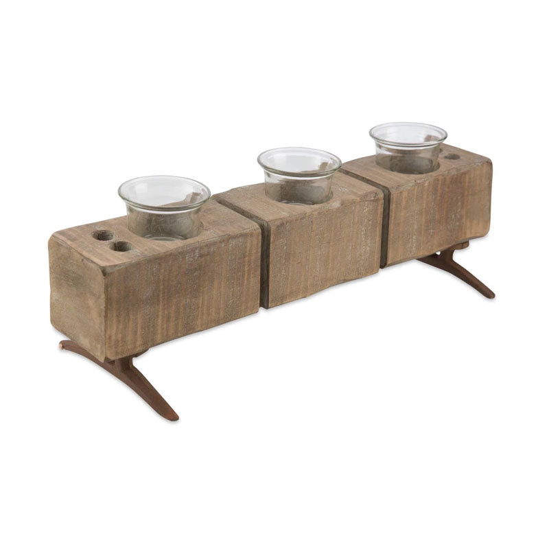 3 Glass Footed Wood Candle Holder - Natural - Notbrand