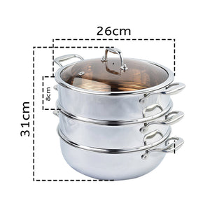 3 Tier Stainless Steel Food Steamer With Glass Lid - 26cm - Notbrand