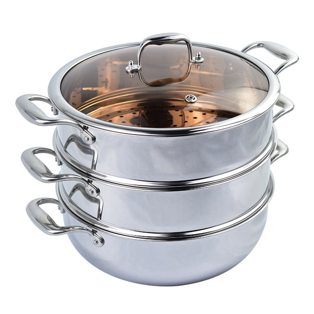 3 Tier Stainless Steel Food Steamer With Glass Lid - 28cm - Notbrand
