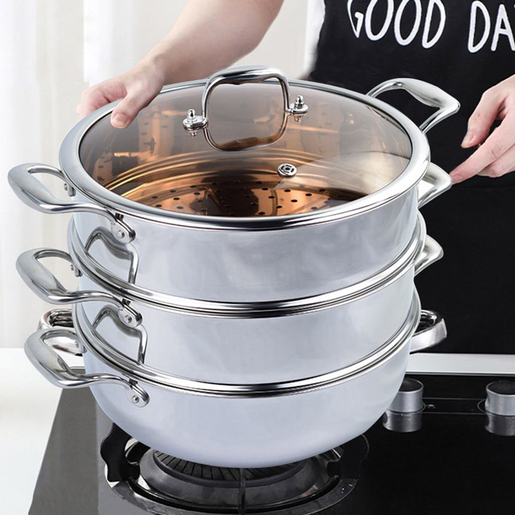 3 TIER 32CM STAINLESS STEEL FOOD STEAMER WITH GLASS LID - Notbrand