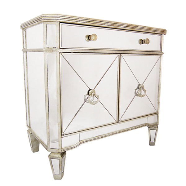 Antique Ribbed Mirrored Chest - Notbrand