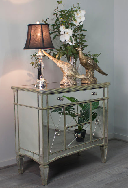 Antique Style Ribbed Mirrored Dresser Nightstand - Notbrand