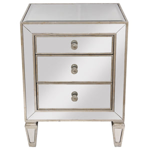Mirrored 3 Drawer Bedside Antique Seamless - Notbrand