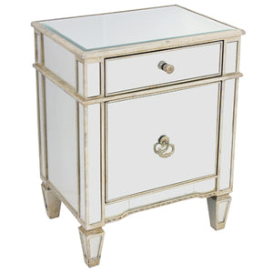 Mirrored Bedside Cabinet Antique 1 Door 1 Drawer - Notbrand