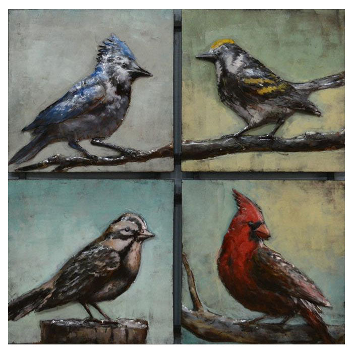 4 Birds Square Metal Wall Art