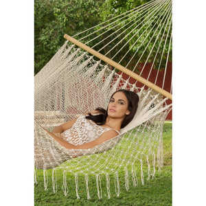 Resort Mexican Hammock with Fringe in Cream - Notbrand