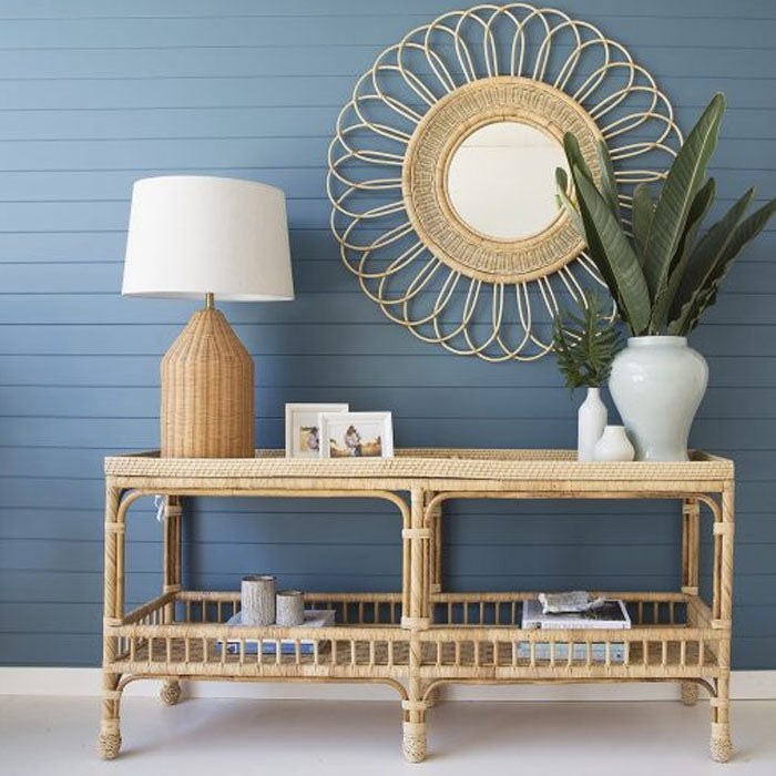 Marina Rattan Console Table - Notbrand