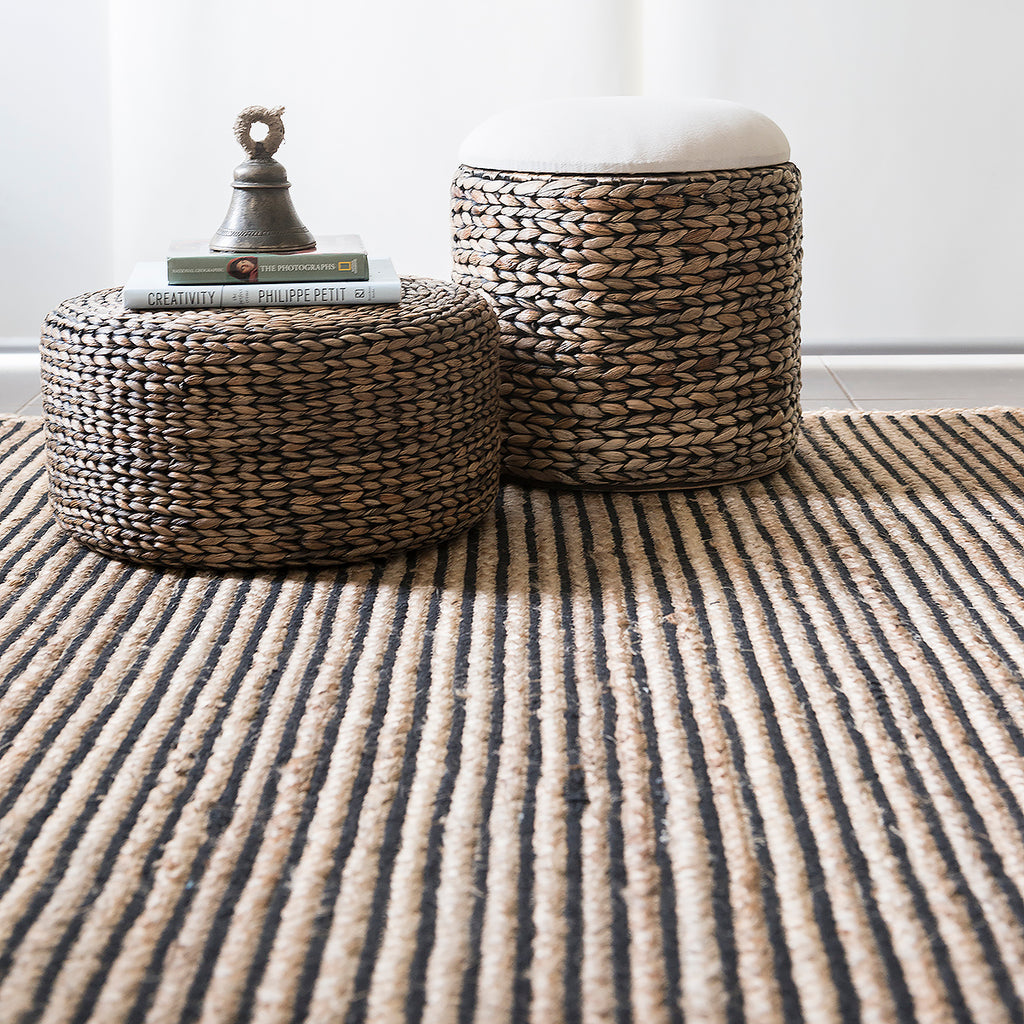 Braided Cotton & Jute Rug with Black Lines