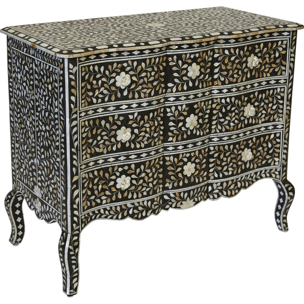 Provincial French Mother of Pearl Inlay Chest of 3 Drawers in Black - Notbrand