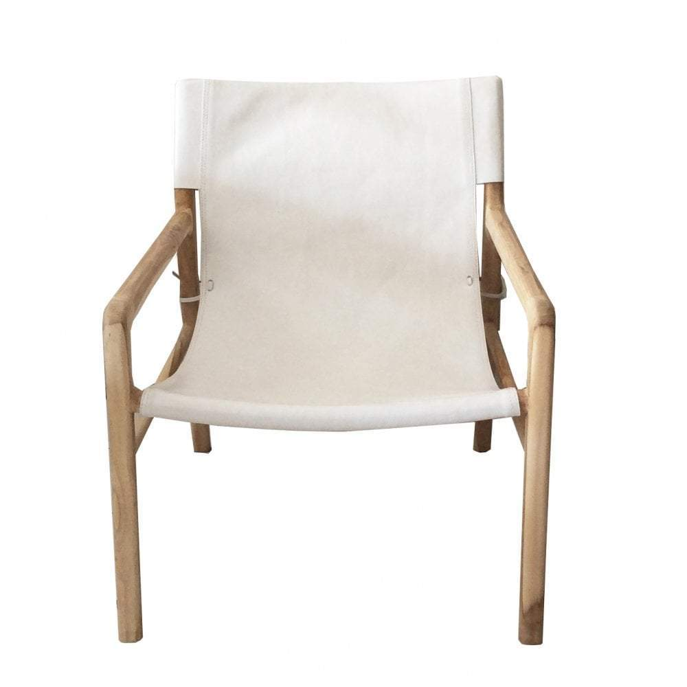 Jasper Teak & White Leather Chair - Notbrand