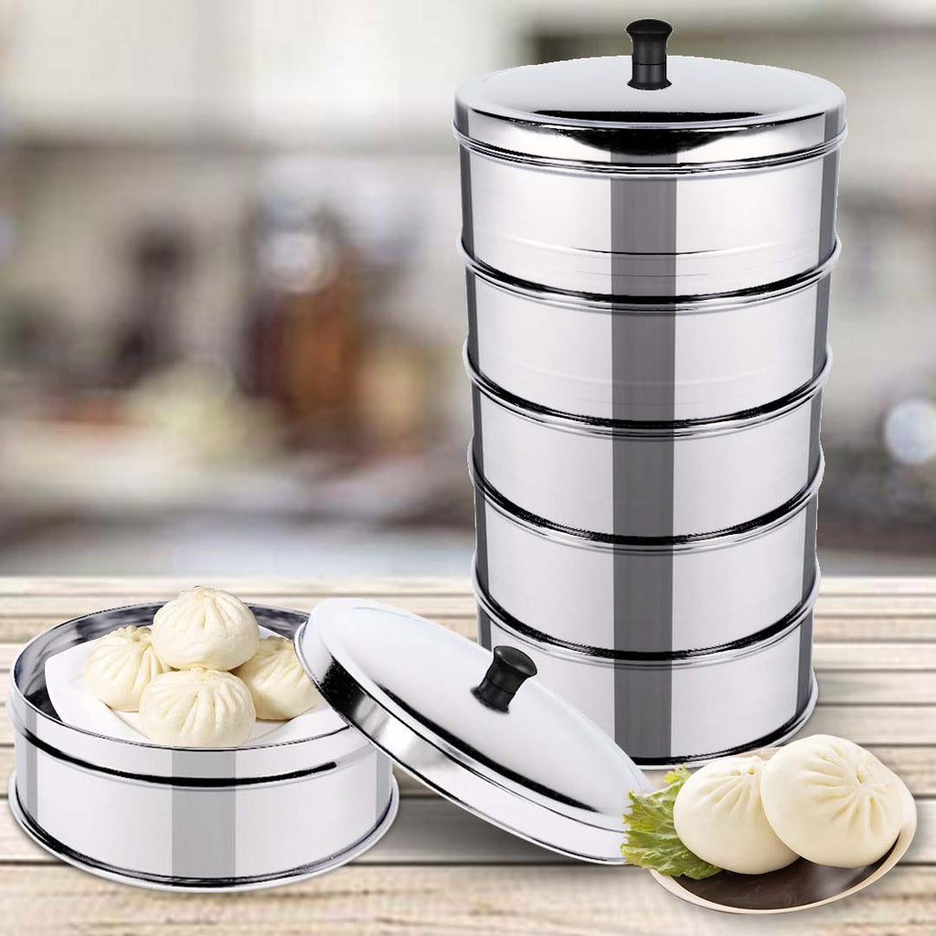 5 Tier Stainless Steel Steamers With Lid - 25cm - Notbrand