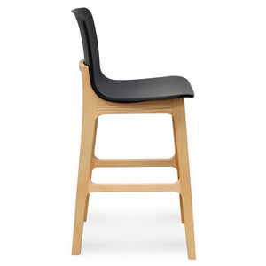 Galne Natural Bar stool with Black Seat - Notbrand