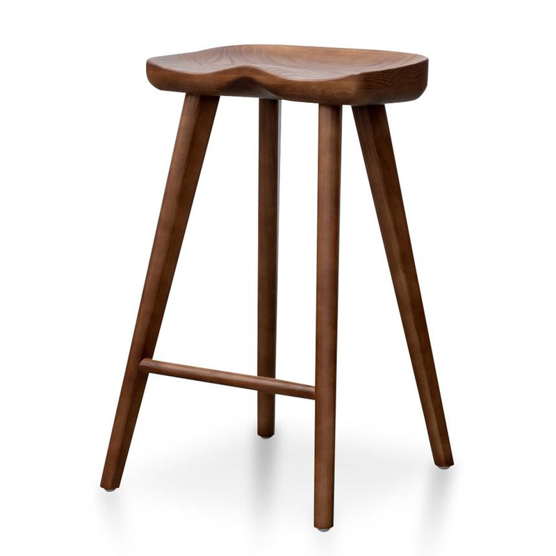 Elqid 65cm Wooden Bar Stool - Walnut - Notbrand