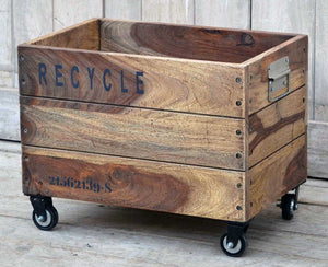 Industrial Recycle Basket On Cast Iron Wheels - Notbrand