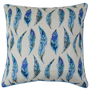 Blue Feathers Cotton Cushion Cover with piping