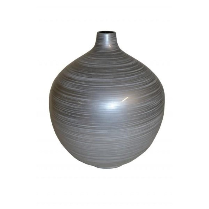 Silver Grey Round Narrow Neck Lacquer Vase - Medium - Notbrand