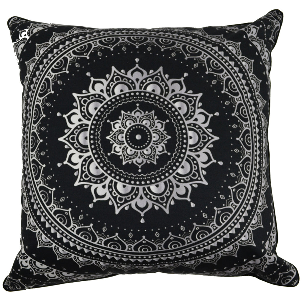 Black Mandala Cotton Cushion Cover - Notbrand