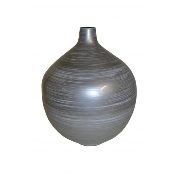 Silver Grey Round Narrow Neck Lacquer Vase - Large - Notbrand