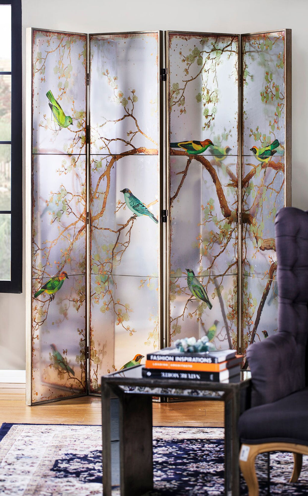 Oriental Mirrored Dressing Screen Room Divider - Notbrand