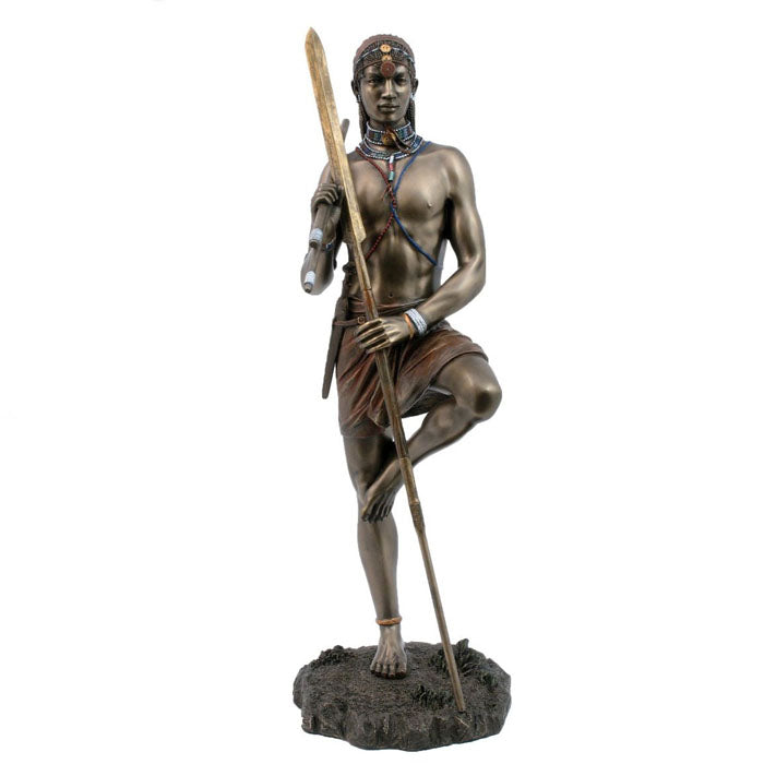 Angolia - Watchful Warrior African Bronze Figurine - Notbrand