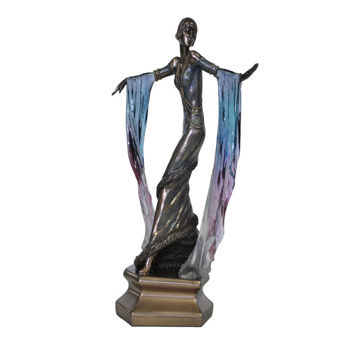 Art Deco Lady Rotating With Blue Shawl Figurine - Notbrand