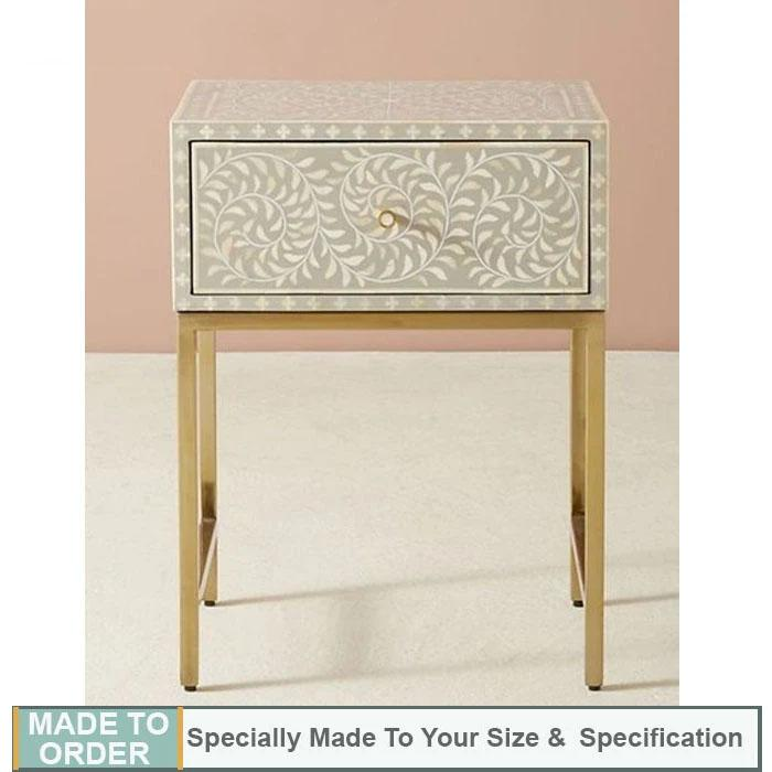 Aariz Bone inlay Bedside Table in Floral Design Grey - Notbrand
