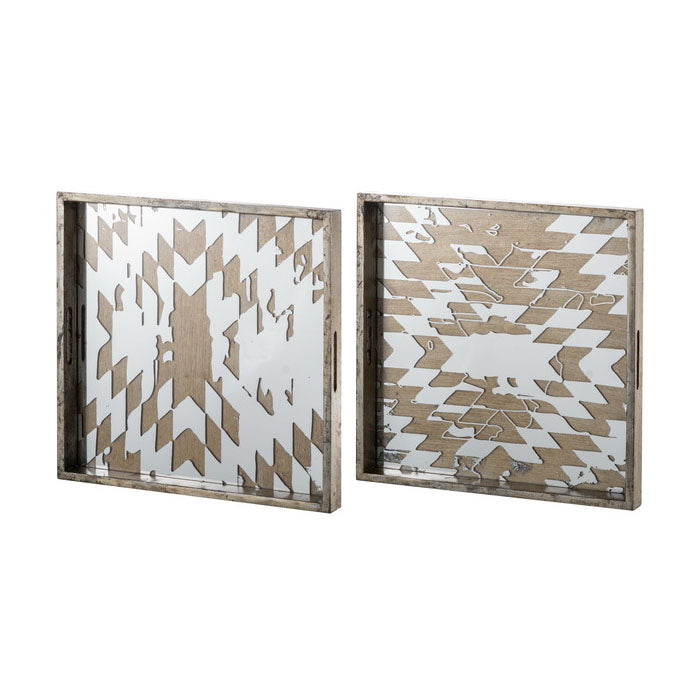 Set of 2 Abstract Mirrored Trays - Notbrand