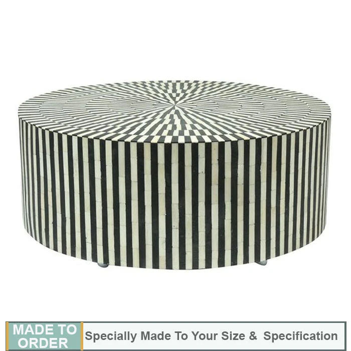 Alice Black Striped Round Bone Inlay Coffee Table - Notbrand