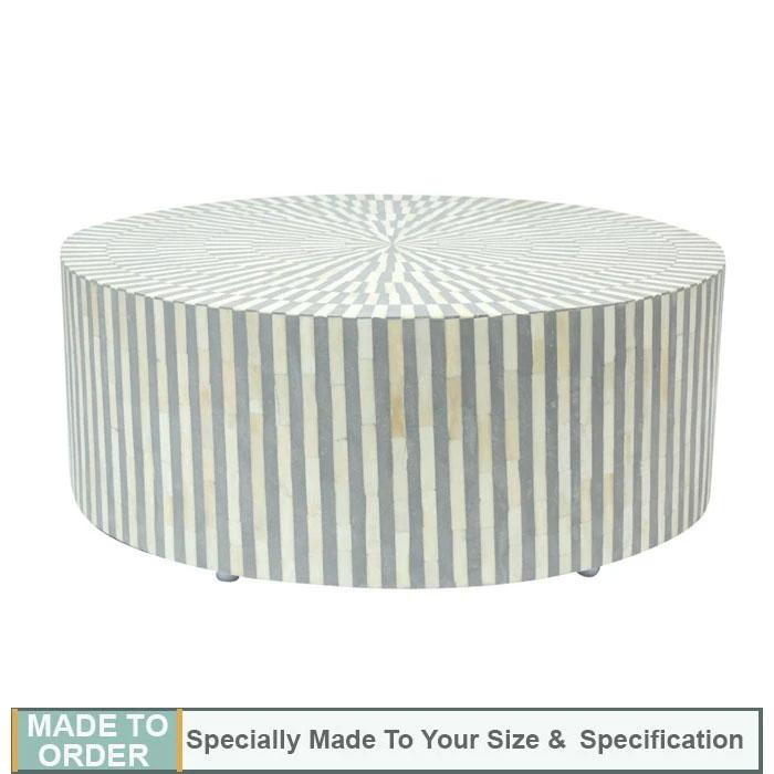Alice Bone Inlay Stripe Design Round Coffee Table Grey - Notbrand