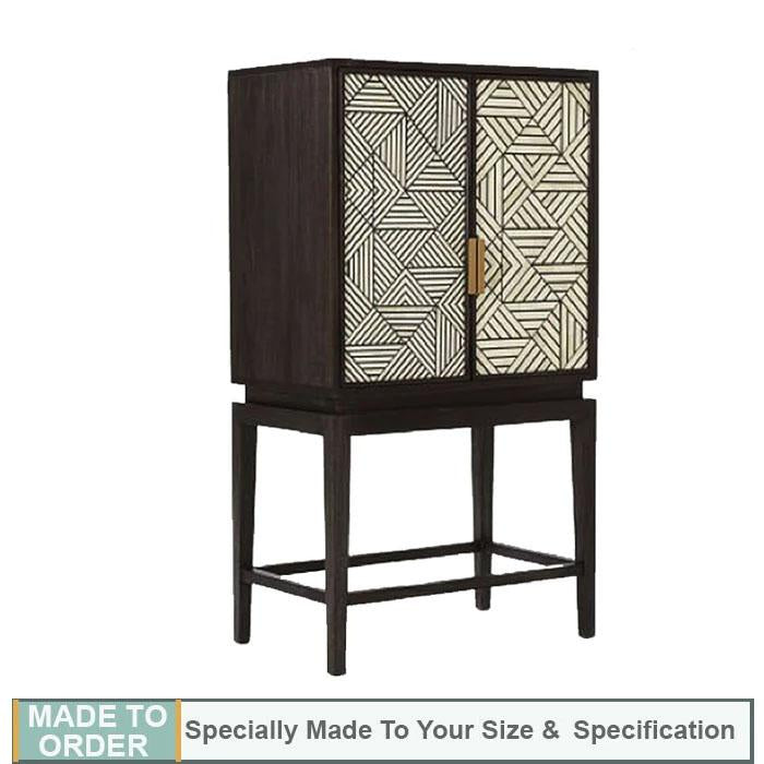 Almida Bone Inlay Bar Cabinet Geometric Design - Notbrand