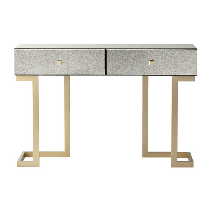 Wesson Antique Mirrored 2 Drawer Console Table - Notbrand