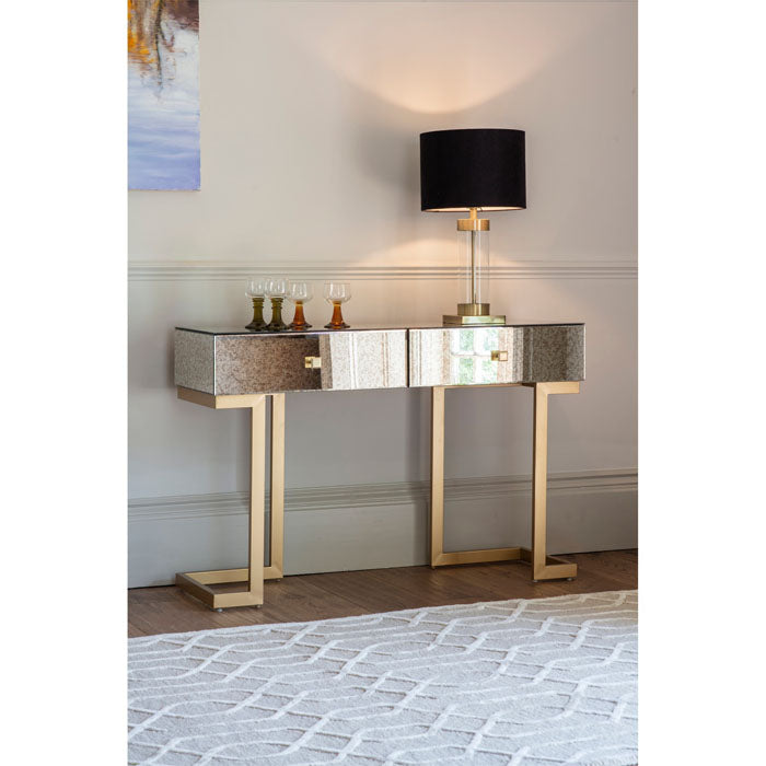 Wesson Antique Mirrored 2 Drawer Console Table