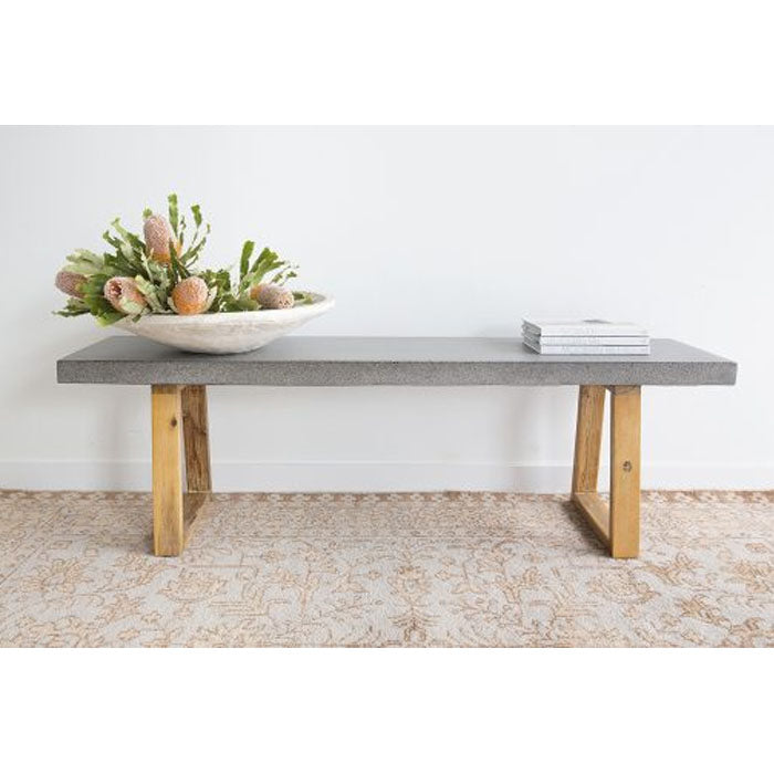 Antwerp ElkStone Bench Seat – 1.45m – Speckled Grey with Light Honey Timber Legs - Notbrand