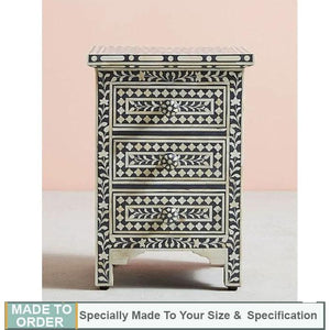Aria Floral Design Bone inlay 3 Drawers Side Table Grey - Notbrand