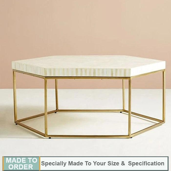 Aria+Striped+Hexagonal+Bone+Inlay+Coffee+Table+White