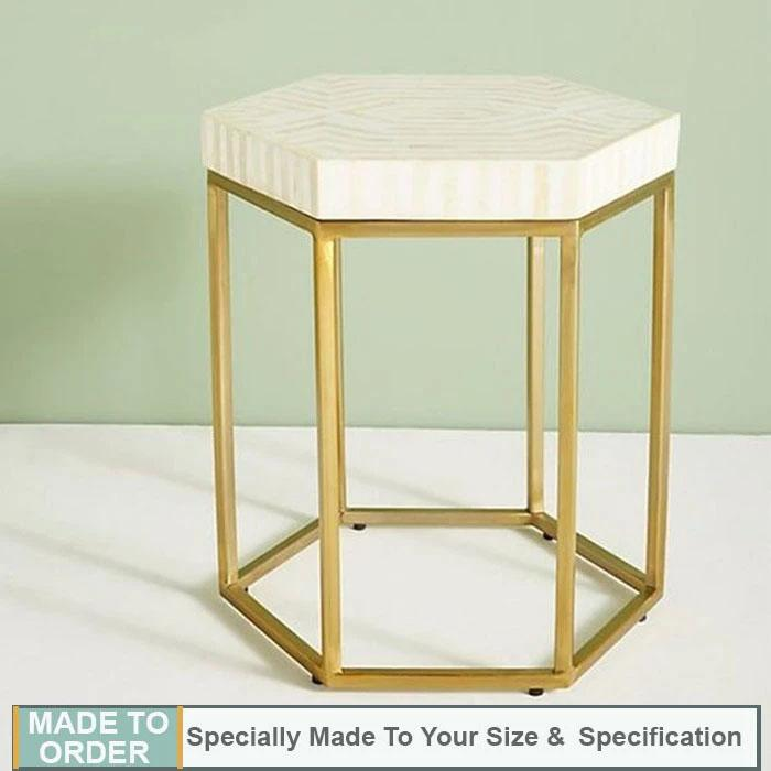 Aria+Striped+Hexagonal+Bone+Inlay+Sidetable+White